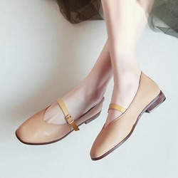 Plain Buckle Block Heel Women's Shoes