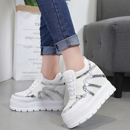 Color Block Platform Lace-Up Women's Sneakers