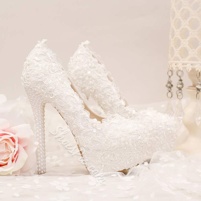 Beads Ultra-High Heel Wedding Shoe