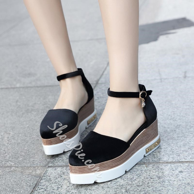 Black Wedge Heel Women's Casual Shoes