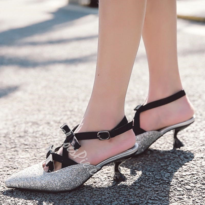 Bow Sequin Pointed Toe Women's Sandals