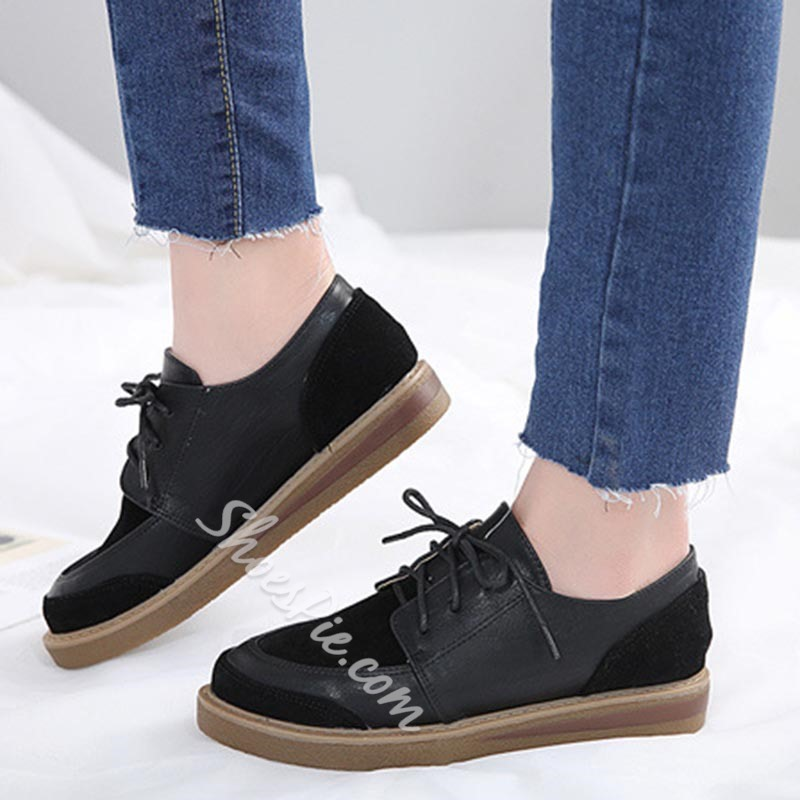 Sewing Lace-Up Women's Casual Shoes
