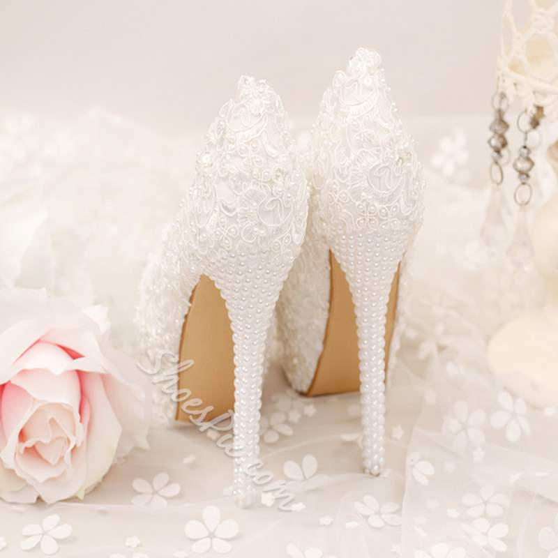 Shoespie Beads Ultra-High Heel Wedding Shoe
