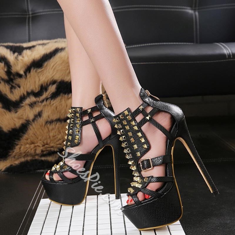 aa26d79d067 Rivet Platform Peep Toe Stiletto Heel Sandals- Shoespie.com