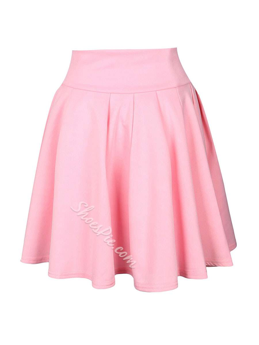 Mini Skirt A-Line Pleated High-Waist Women's Skirt