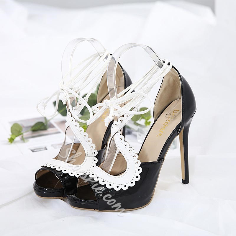 Black Color Block Lace-Up Stiletto Heels