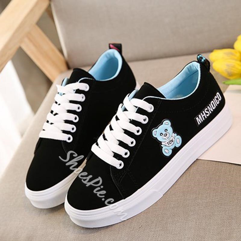 Lace-Up Bear Women's Casual Shoes