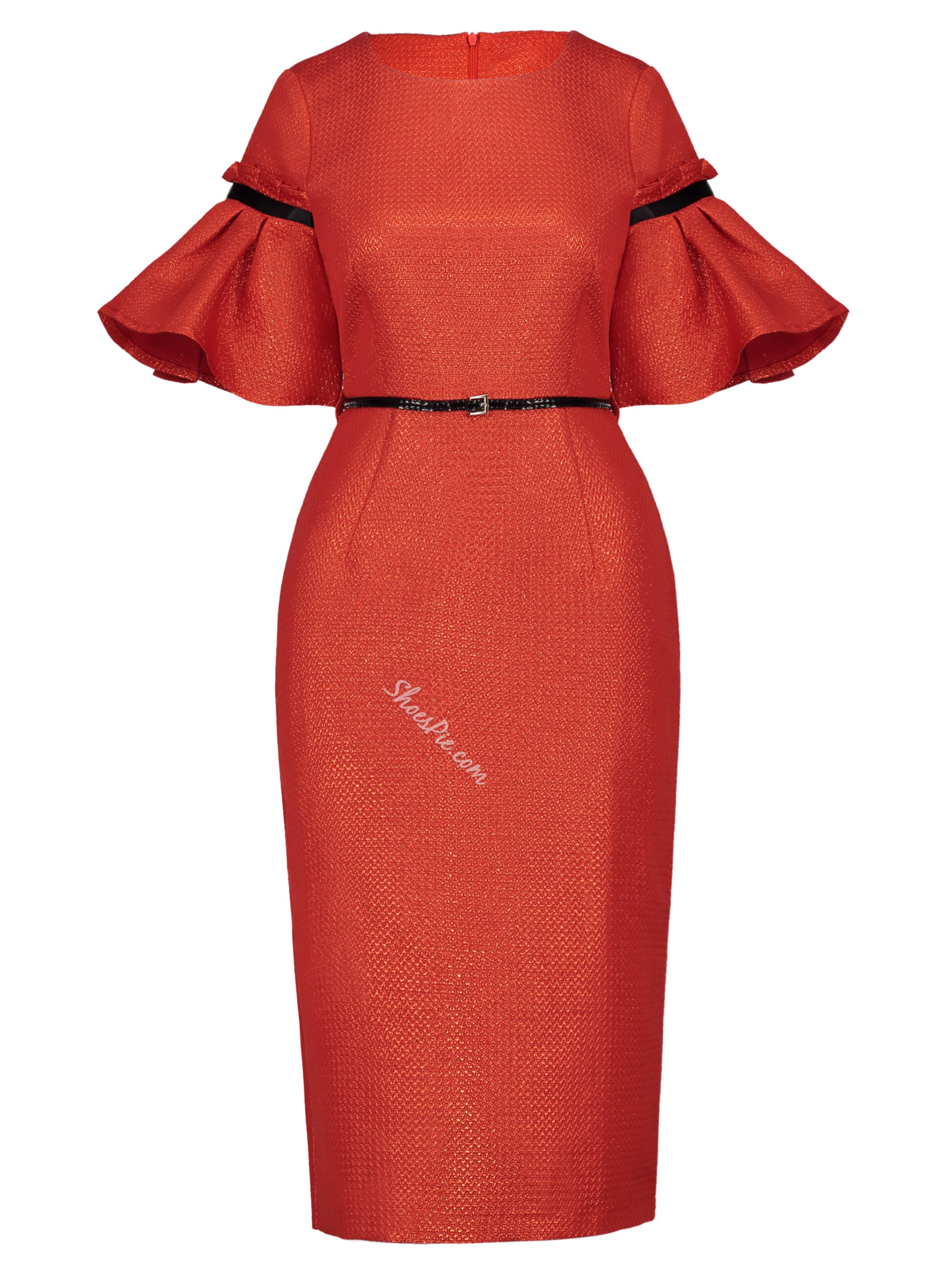 Orange Red Falbala Belt Professional Bodycon Dresses