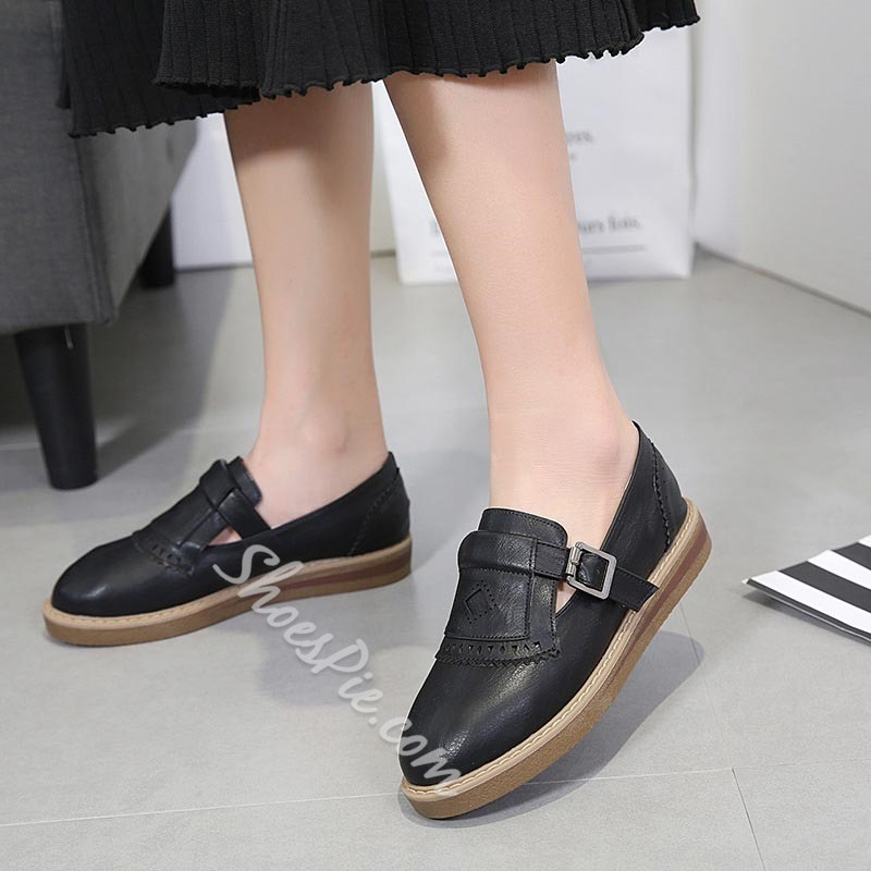 Plain Buckle Flat Heel Women's Shoes