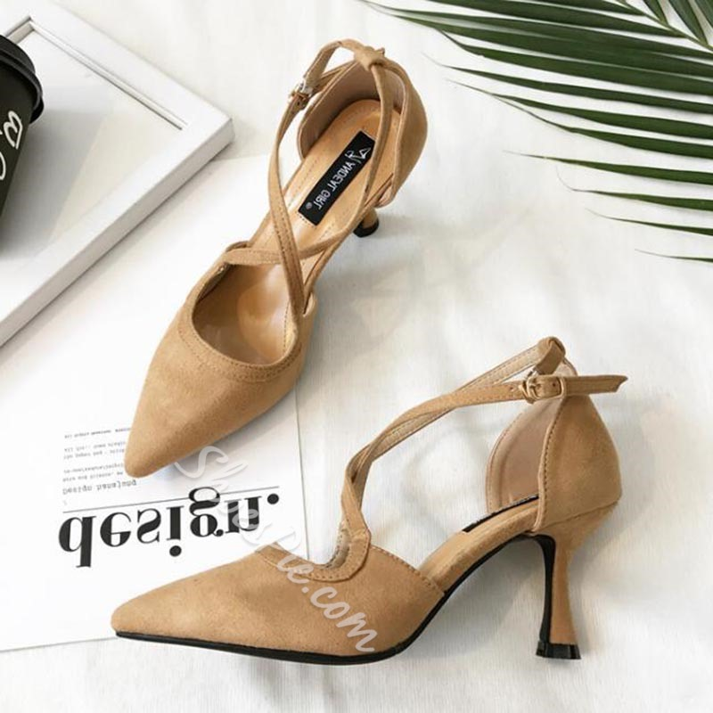 Plain Buckle Kitten Heel Dress Sandals