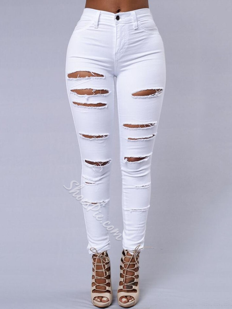 Patchwork Pencil Pants Plain Button Women's Jeans