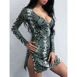 Sexy V-Neck Serpentine Long Sleeve Bodycon Dresses
