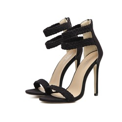 Solid Color Open Toe Stiletto Heel Sandals
