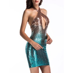 Sexy Sequins Gradient Halter Bodycon Dresses