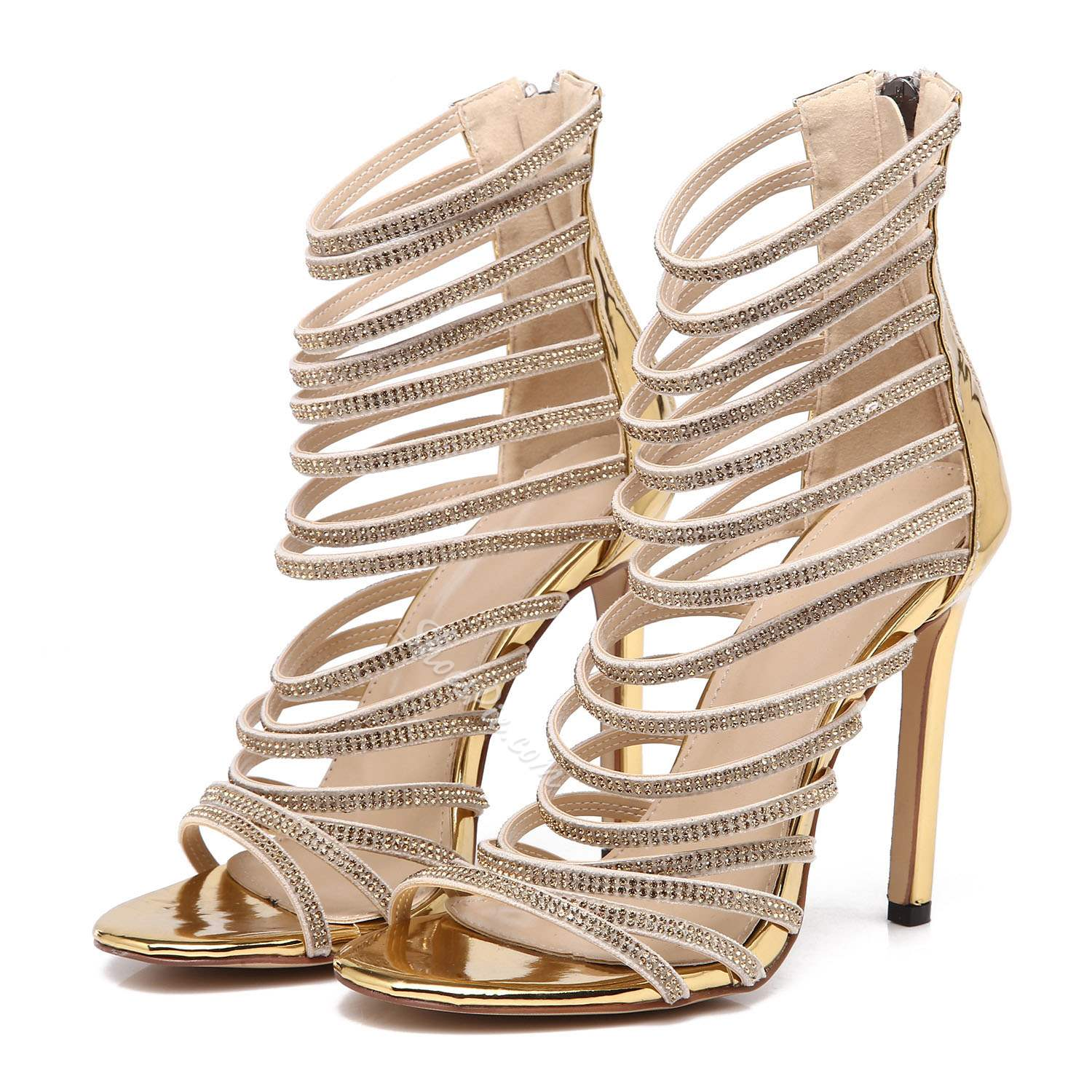 Heel Covering Open Toe Stiletto Heel Sandals