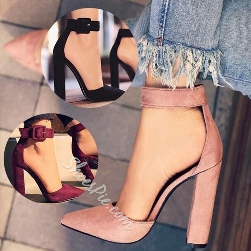 Line-Style Buckle Pointed Toe Chunky Heels