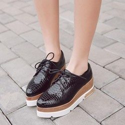 Lace-Up Platform Pointed Toe Women's Shoes