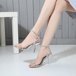 Rhinestone Plain Stiletto Heel Sandals