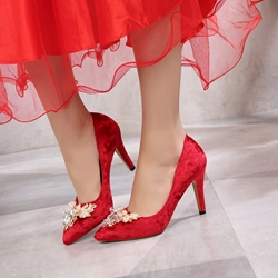 Rhinestone Red Wedding Shoes