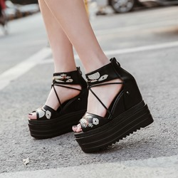 Black Embroidery Wedge Heel Sandals