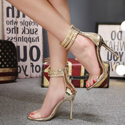 Plain Ankle Strap Stiletto Heel Sandals