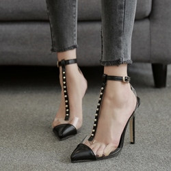 Patchwork Stiletto Heel Sandals