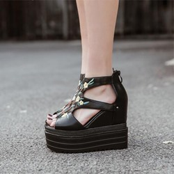 Black Embroidery Platform Wedge Heel Sandals