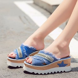 Denim Sequin Slip-On Women's Sandals