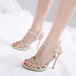T-Shaped Buckle Rhinestone Dress Sandals