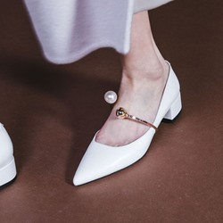 Beads Plain Slip-On Heels