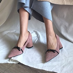 Plain Bow Slip-On Chunky Heels