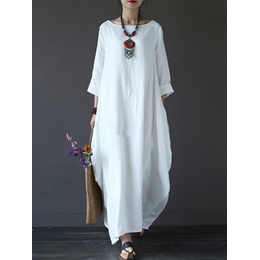Shoespie Lantern Plain Regular Women's Maxi Dress