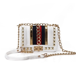 Shoespie Trendy Color Block Chain Crossbody Bag