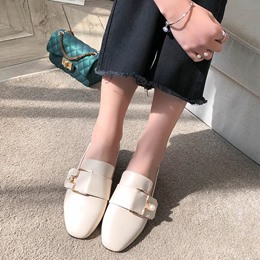 Plain Buckle Slip-On Women's Shoes