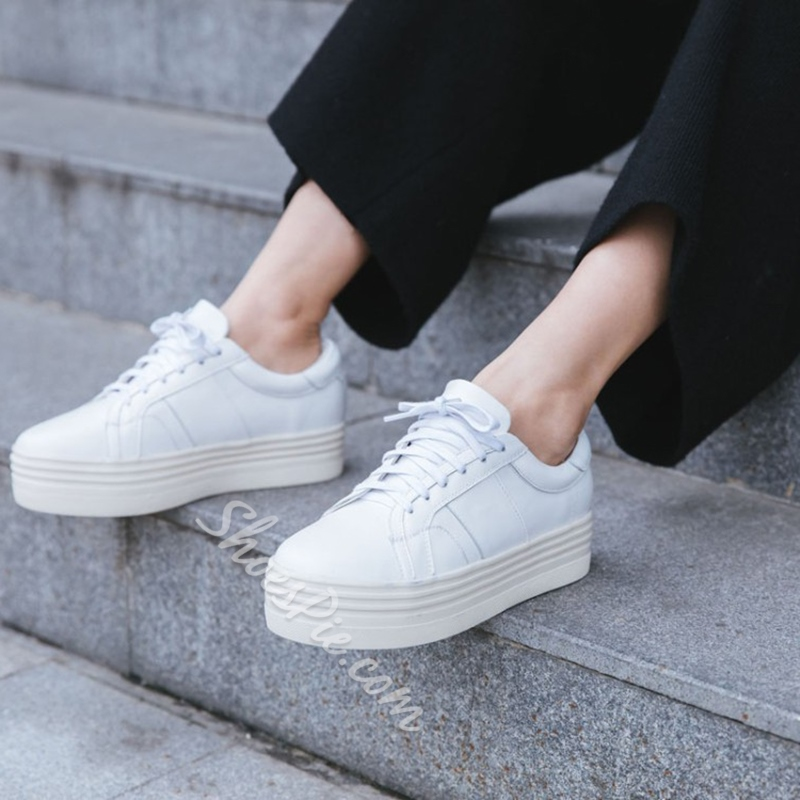 White Platform Lace-Up Women's Sneakers