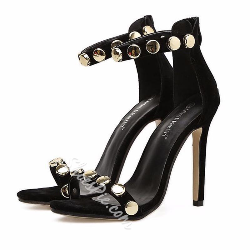 Rivet Black High Stiletto Heel Sandals