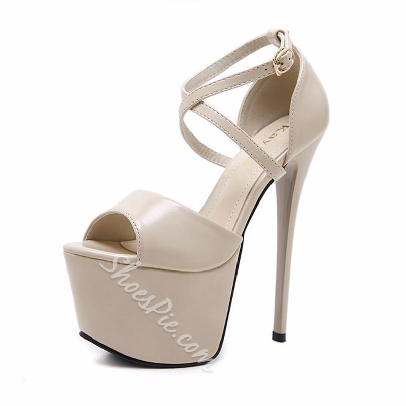 Plain Buckle Platform Stiletto Heel Sandals