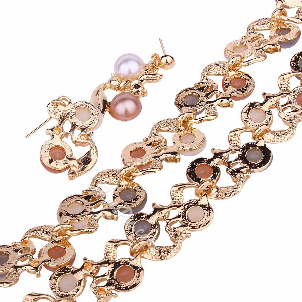 Two-Tone Pearl Inlaid Earrings Necklace Party Jewelry Sets