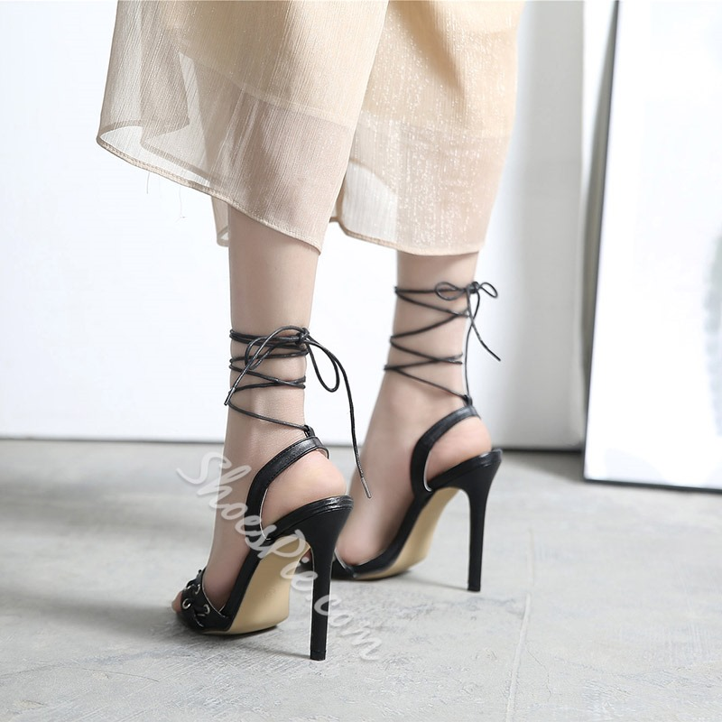 Black Ankle Strap Lace-Up Dress Sandals
