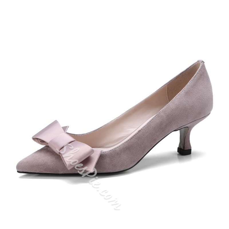 Bow Slip-On Kitten Heel Pumps