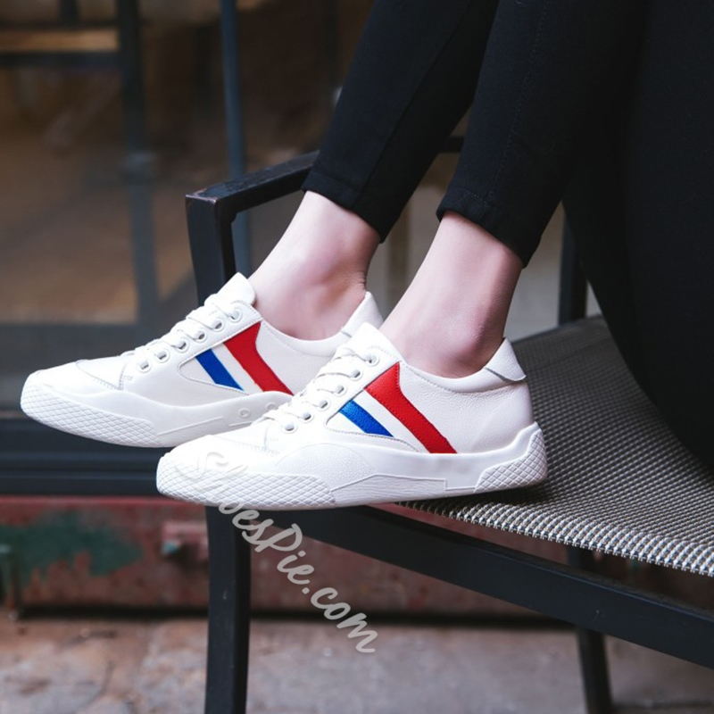Round Toe Lace-Up Women's Casual Shoes