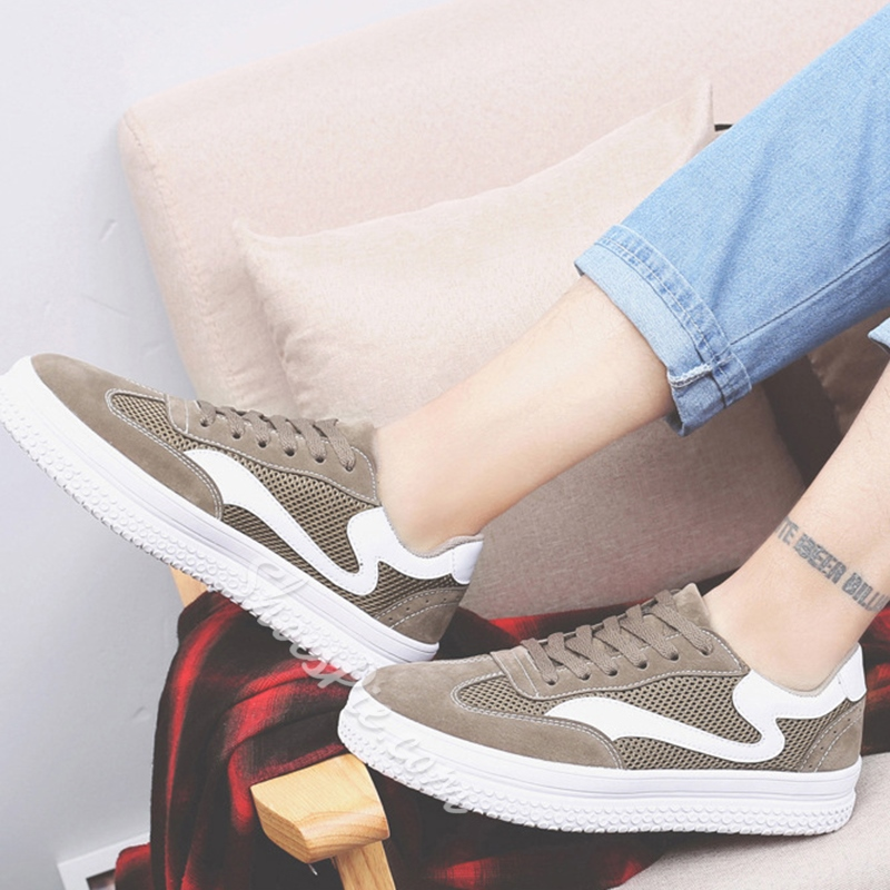 Spring Casual Mesh Round Toe Lace-Up Men's Sneakers