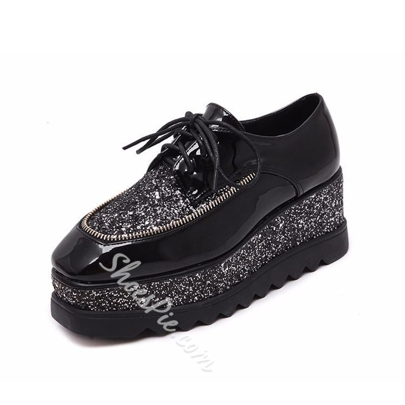 Sequin Platform Wedge Heel Sneakers