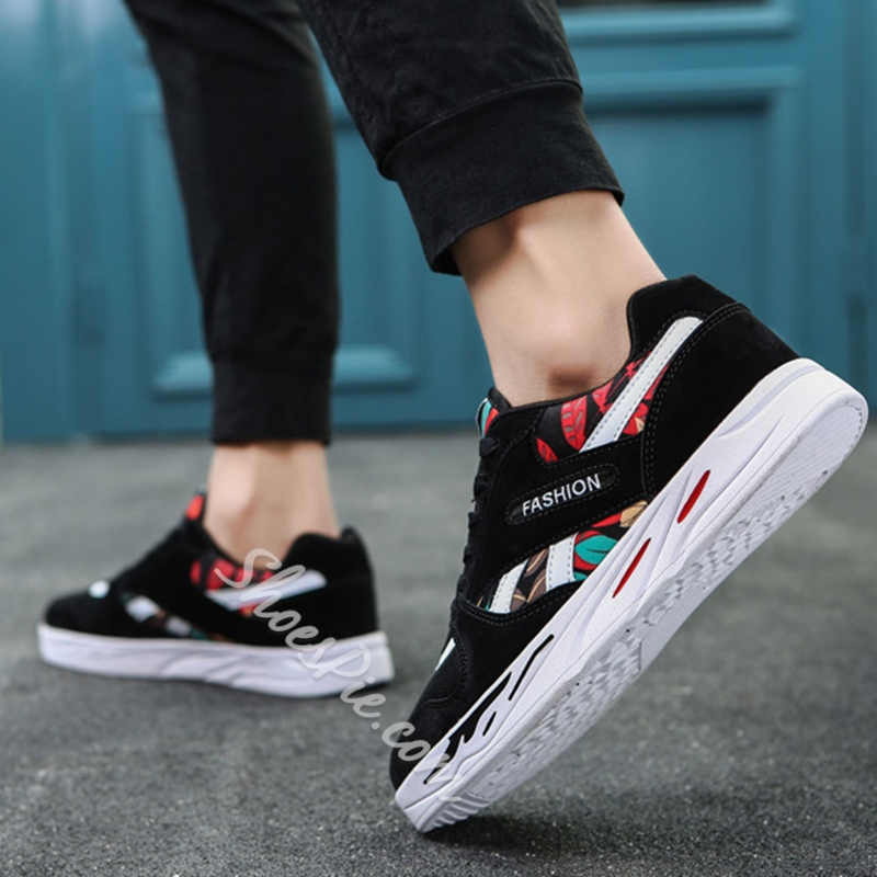 Casual Round Toe Mesh Lace-Up Print Men's Sneakers