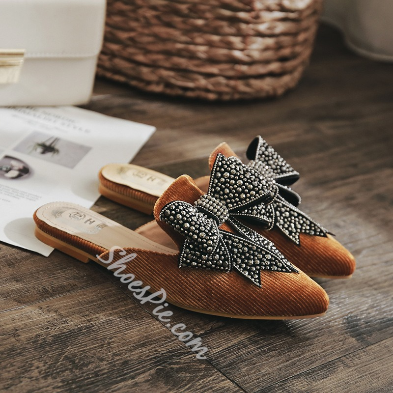 Bow Rhinestone Slip-On Women's Shoes