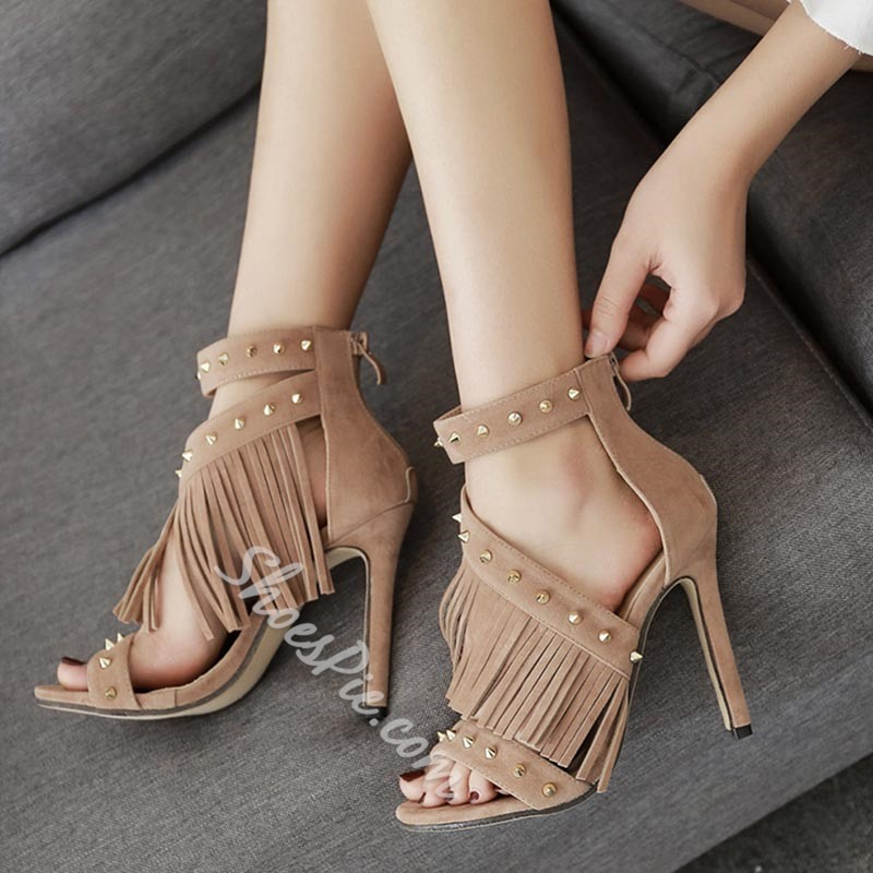 Rivet Fringe Plain Stiletto Heels