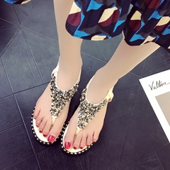 Rhinestone Sequin Elastic Band Strappy Thong Flat Sandals