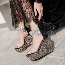 Rhinestone Jelly Heel Covering Wedge Heel Sandals