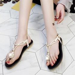 Rhinestone Beads Thong Flat Sandals