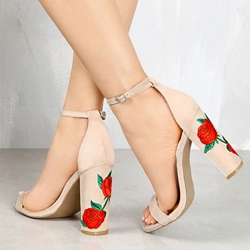 Casual Embroidery Floral Chunky Heel Dress Sandals